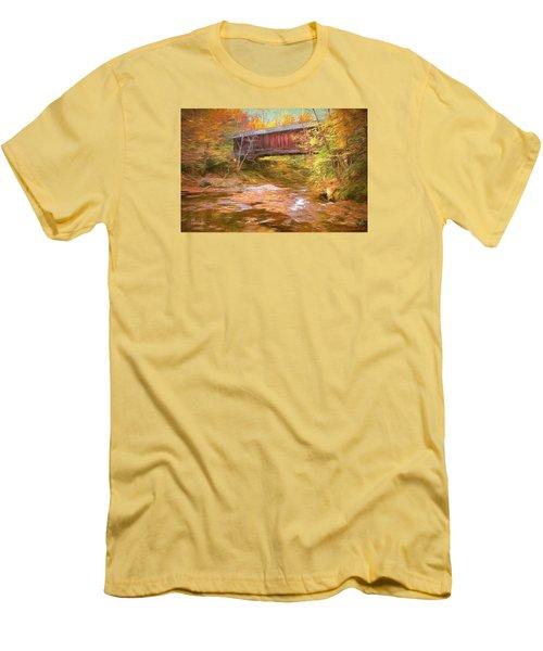 Men's T-Shirt (Slim Fit) featuring the digital art Hutchins Bridge by John Selmer Sr