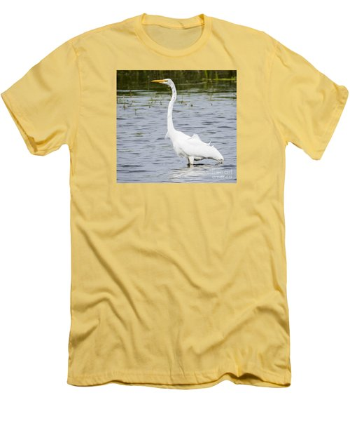 Men's T-Shirt (Slim Fit) featuring the photograph The Great White Egret by Ricky L Jones