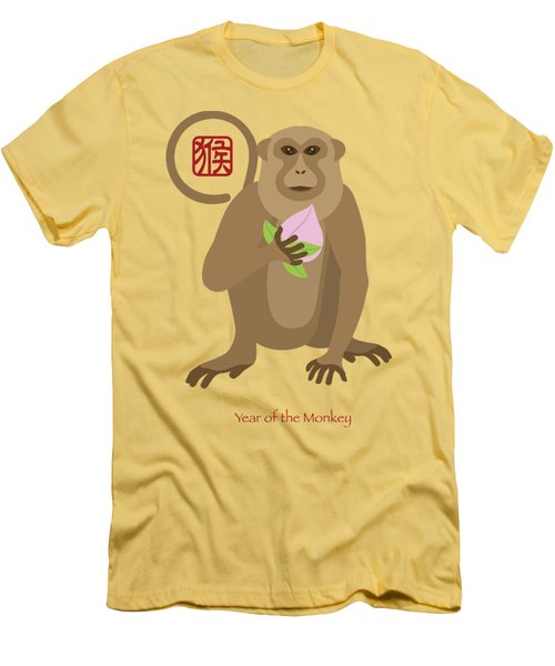2016 Chinese Year Of The Monkey With Peach Men's T-Shirt (Athletic Fit)