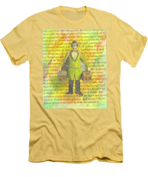 Men's T-Shirt (Slim Fit) featuring the mixed media 2b Or Not 2b by Desiree Paquette