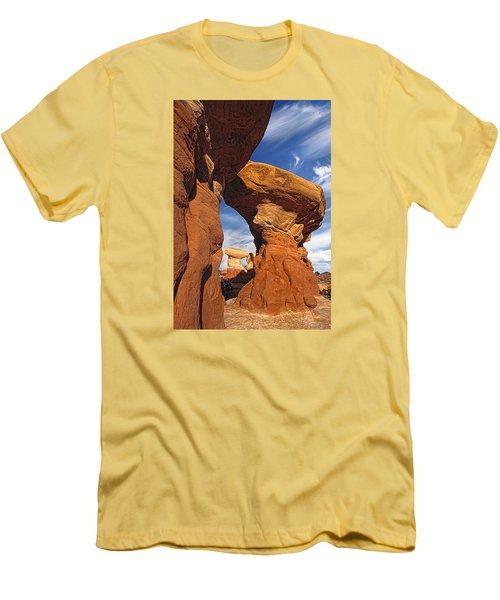 Sandstone Hoodoos In Utah Desert Men's T-Shirt (Slim Fit) by Utah Images