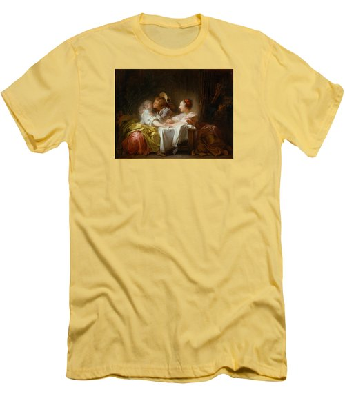 Men's T-Shirt (Slim Fit) featuring the painting The Stolen Kiss by Jean-Honore Fragonard