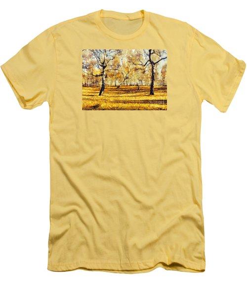 Watercolor Landscape Autumn Painting Forest Men's T-Shirt (Slim Fit) by Odon Czintos