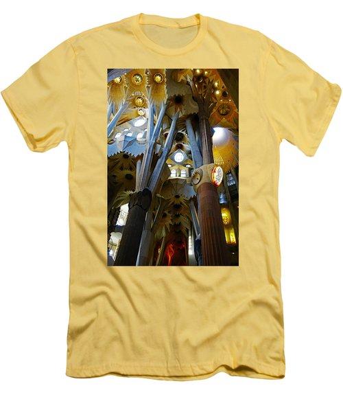 Artistic Achitecture Within The Sagrada Familia In Barcelona Men's T-Shirt (Slim Fit) by Richard Rosenshein