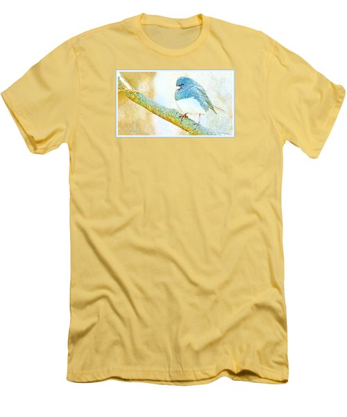 Men's T-Shirt (Slim Fit) featuring the digital art Slate Colored Junco Snowbird Male Animal Portrait by A Gurmankin