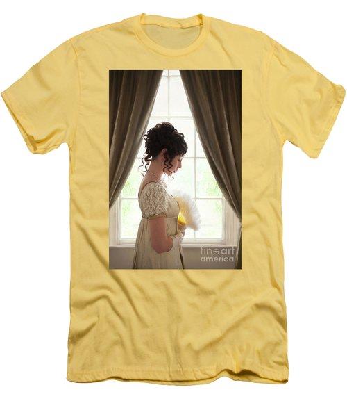 Regency Woman At The Window Men's T-Shirt (Slim Fit) by Lee Avison