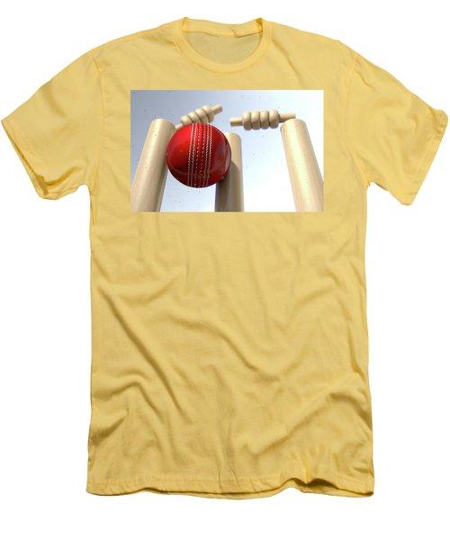 Cricket Ball Hitting Wickets Men's T-Shirt (Slim Fit) by Allan Swart