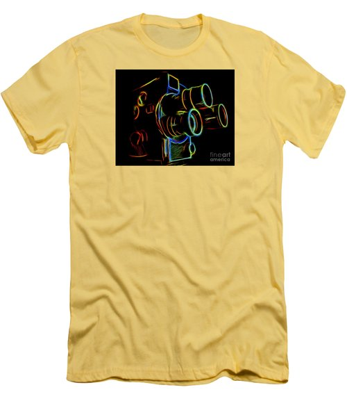 Men's T-Shirt (Slim Fit) featuring the photograph 8mm In Neon by Mark Miller