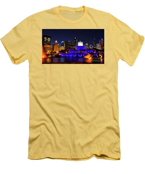 911 Tribute At Buckingham Fountain, Chicago Men's T-Shirt (Slim Fit) by Zawhaus Photography