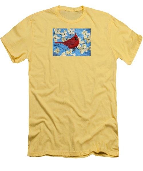 Men's T-Shirt (Slim Fit) featuring the painting A Cardinal Spring by Angela Davies