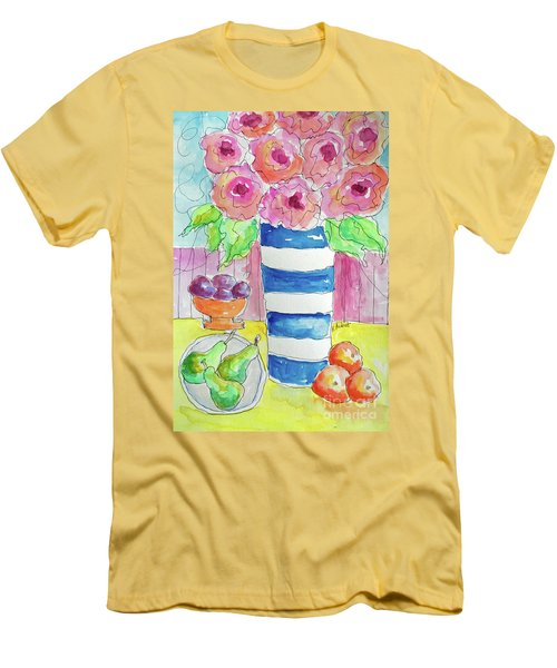 Men's T-Shirt (Slim Fit) featuring the painting Fruit Salad by Rosemary Aubut
