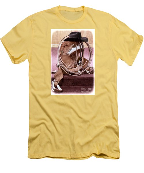 Men's T-Shirt (Slim Fit) featuring the photograph A Cowboy's Gear by Lawrence Burry