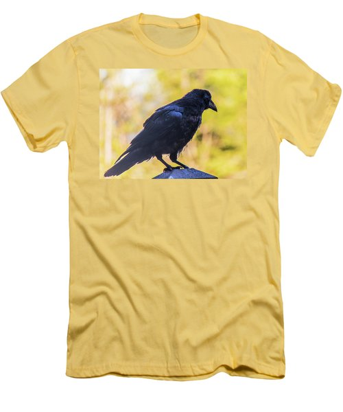 Men's T-Shirt (Athletic Fit) featuring the photograph A Crow Looks Away by Jonny D