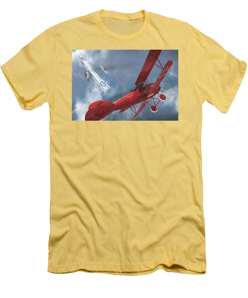 A Duel Begins - The Red Baron Men's T-Shirt (Slim Fit) by David Collins