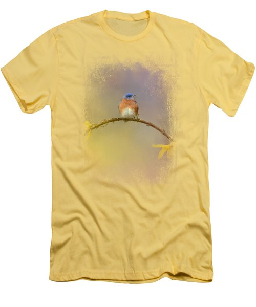 A Little Blue In The Garden Men's T-Shirt (Slim Fit) by Jai Johnson