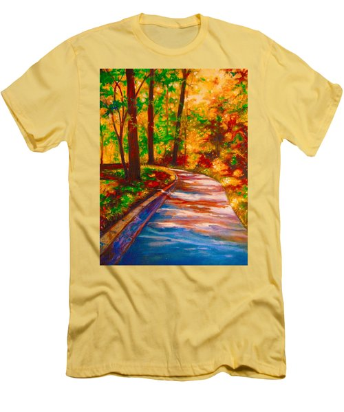 Men's T-Shirt (Slim Fit) featuring the painting A Morning Walk by Emery Franklin