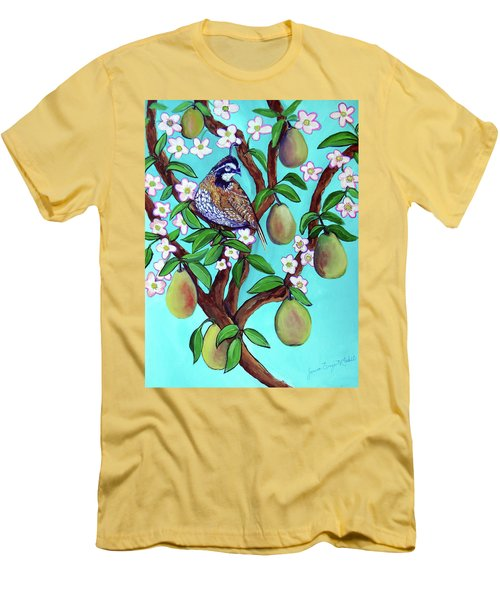 Men's T-Shirt (Slim Fit) featuring the painting A Partridge In A  Blooming Pear Tree by Ecinja Art Works