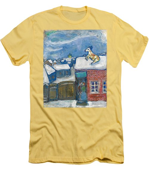 A Village In Winter Men's T-Shirt (Slim Fit) by Marc Chagall