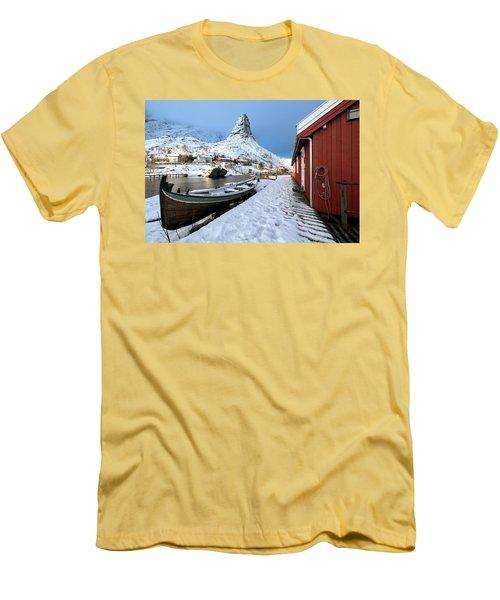 Men's T-Shirt (Athletic Fit) featuring the photograph A Village Lofoten by Dubi Roman