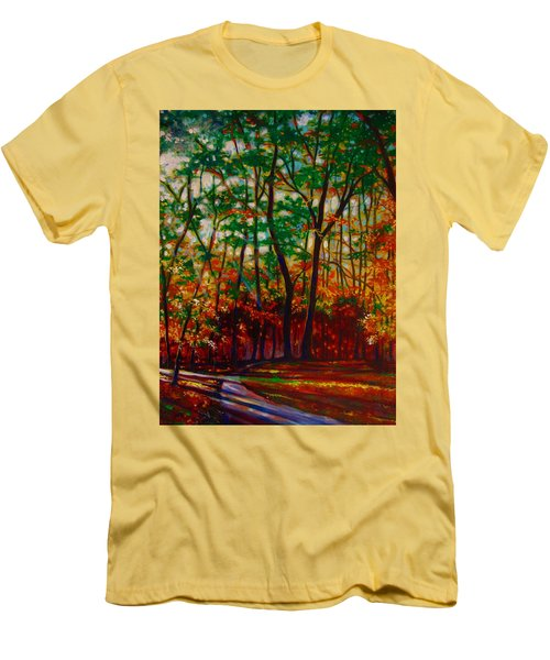 Men's T-Shirt (Slim Fit) featuring the painting A Walk In The Park by Emery Franklin