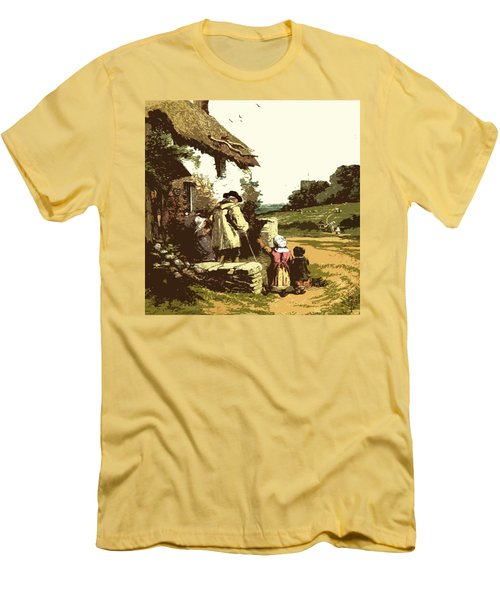 Men's T-Shirt (Slim Fit) featuring the drawing A Walk With The Grand Kids by Digital Art Cafe