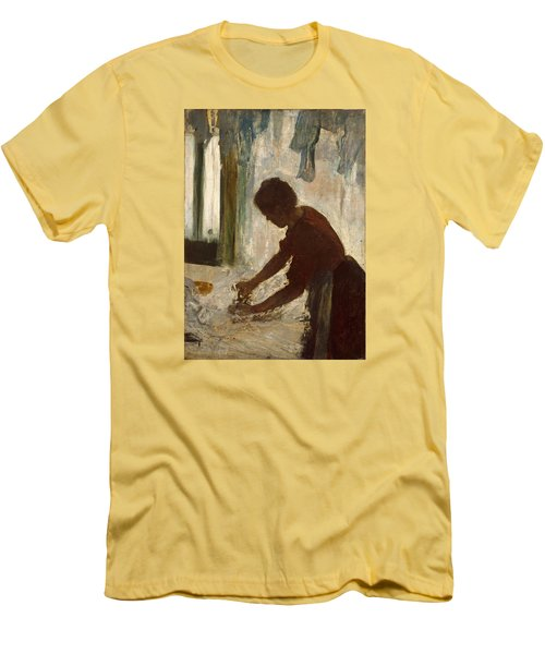 Men's T-Shirt (Slim Fit) featuring the painting A Woman Ironing by Edgar Degas