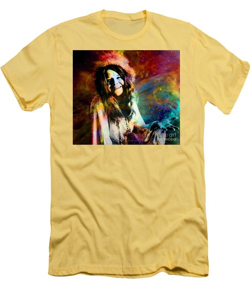A Woman Of 1970 Rock And Roll Men's T-Shirt (Slim Fit) by Annie Zeno