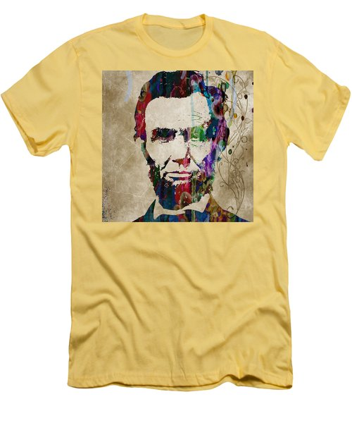 Abraham Lincoln Watercolor Modern Abstract Pop Art Color Men's T-Shirt (Athletic Fit)