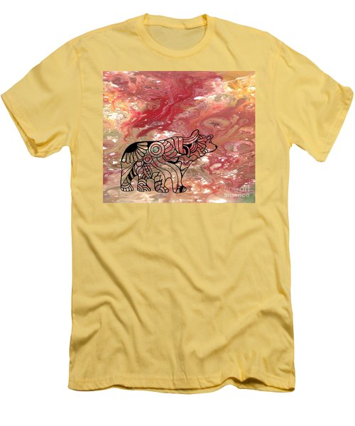 Abstract Acrylic Painting Bear And Zentangle Art Men's T-Shirt (Athletic Fit)