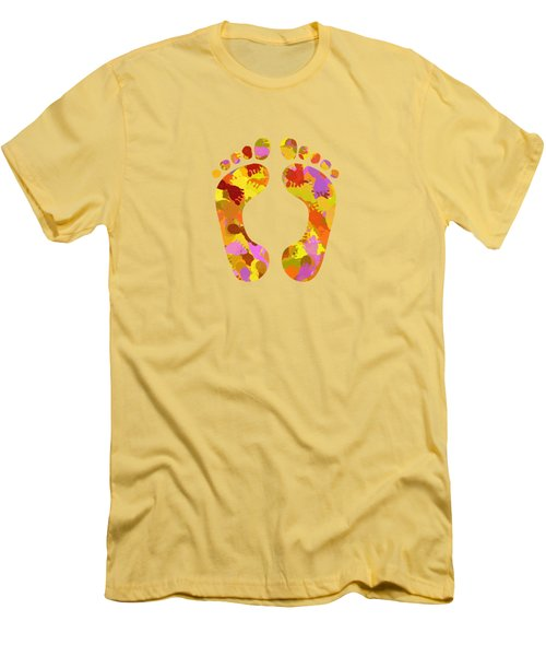 Abstract Footprints On Canvas Men's T-Shirt (Athletic Fit)