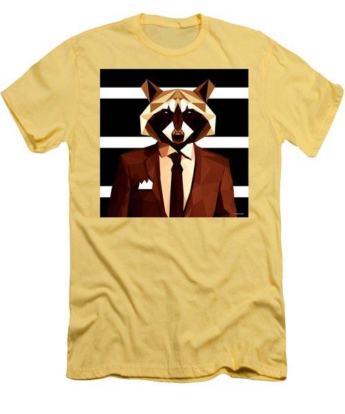 Abstract Geometric Raccoon Men's T-Shirt (Slim Fit) by Gallini Design