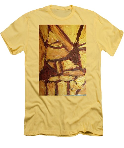 Men's T-Shirt (Slim Fit) featuring the painting Abstract Lamp Again by Shea Holliman