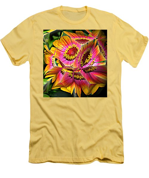 Abstract Yellow Flame Zinnia Men's T-Shirt (Slim Fit) by Kathy Kelly