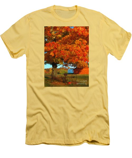 Men's T-Shirt (Slim Fit) featuring the painting Adirondack Autumn Color Brush by Diane E Berry