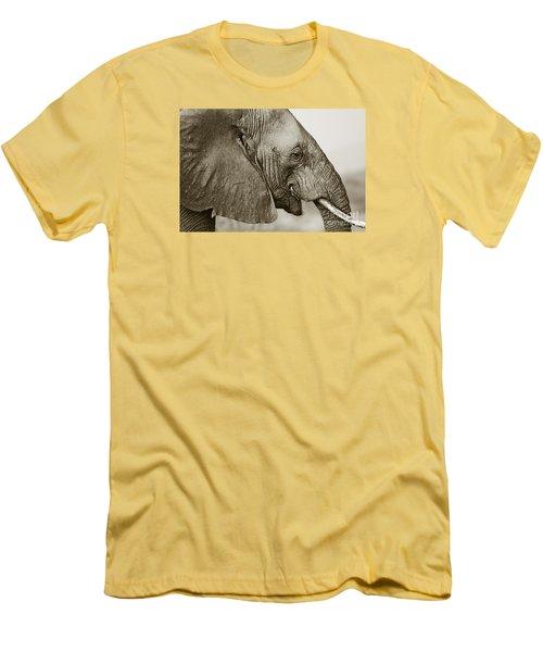 African Elephant Profile  Duotoned Men's T-Shirt (Slim Fit) by Liz Leyden