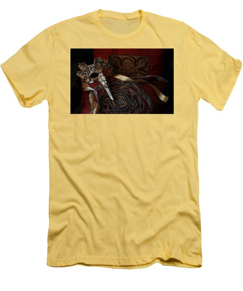 After The Ball - Venetian Mask Men's T-Shirt (Slim Fit) by Yvonne Wright