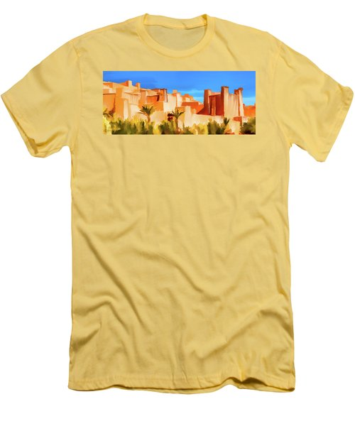 Ait Benhaddou Morocco Men's T-Shirt (Slim Fit) by Wally Hampton