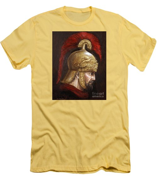 Men's T-Shirt (Slim Fit) featuring the painting Ajax by Arturas Slapsys