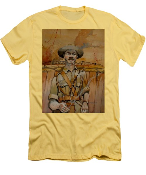 Men's T-Shirt (Slim Fit) featuring the painting Alfred Shout Vc by Ray Agius