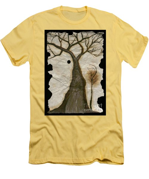 Along The Crumbling Fork In The Road Of The Tree Of Life Acfrtl Men's T-Shirt (Slim Fit) by Talisa Hartley