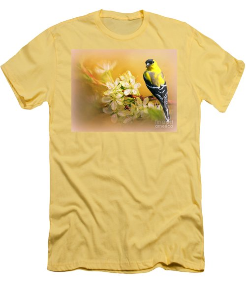 American Goldfinch In The Flowers Men's T-Shirt (Slim Fit) by Myrna Bradshaw