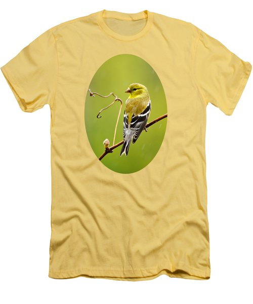 American Goldfinch In The Rain Men's T-Shirt (Slim Fit)