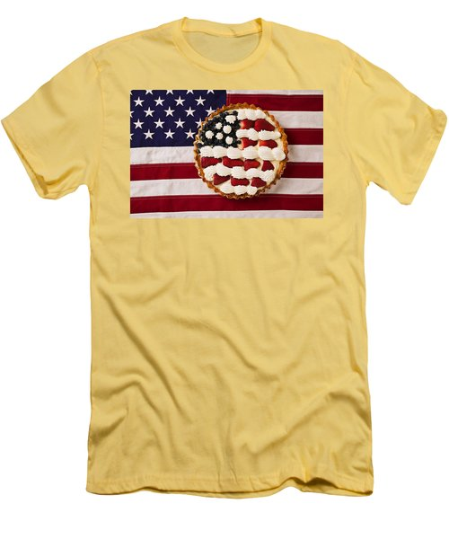 American Pie On American Flag  Men's T-Shirt (Athletic Fit)