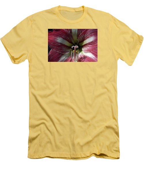 Men's T-Shirt (Slim Fit) featuring the photograph Amaryllis Flower Close-up by Sally Weigand