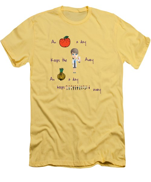 An Apple A Day Men's T-Shirt (Slim Fit) by Humorous Quotes