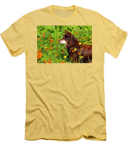 Men's T-Shirt (Slim Fit) featuring the photograph An Aussie's Thoughtful Moment by Debbie Oppermann
