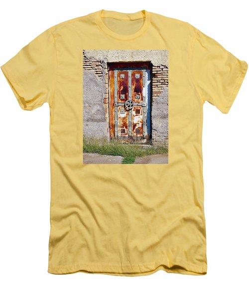 An Old Rusty Door In Katakolon Greece Men's T-Shirt (Athletic Fit)