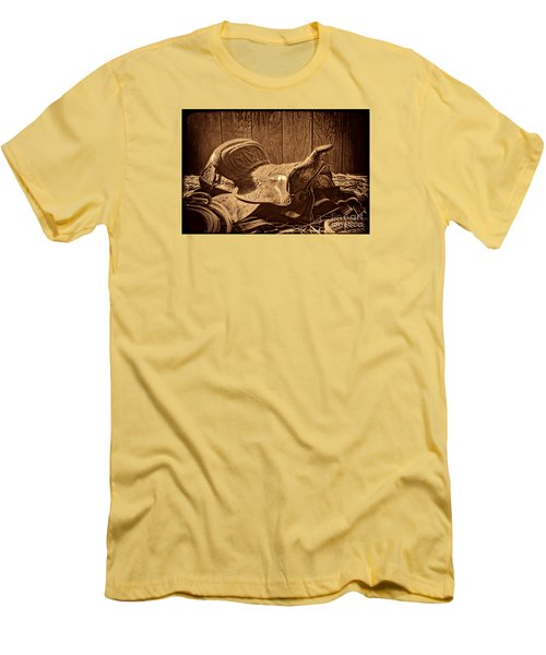 An Old Saddle Men's T-Shirt (Slim Fit) by American West Legend By Olivier Le Queinec