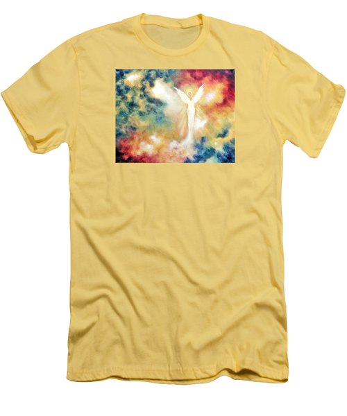 Men's T-Shirt (Slim Fit) featuring the painting Angel Light by Marina Petro