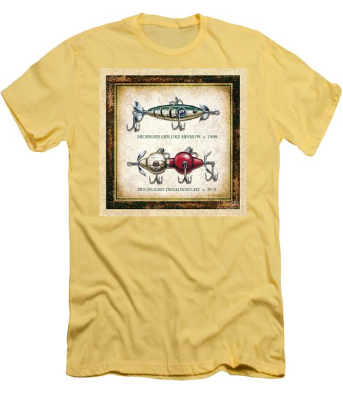 Antique Lure Panel Two Men's T-Shirt (Slim Fit) by JQ Licensing Jon Q Wright